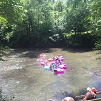 Pink tubes floating down the river
